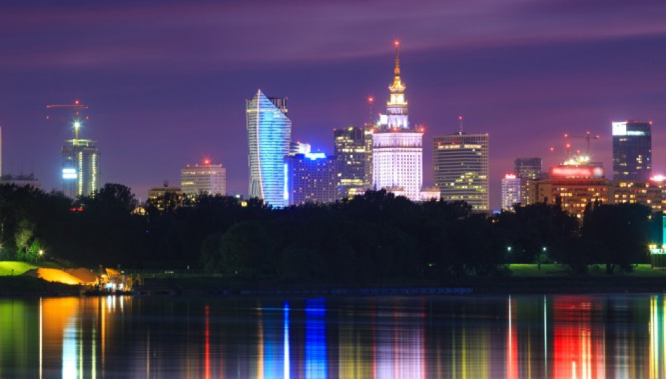 The Palace of Culture and Science (the tallest building in the centre) at night