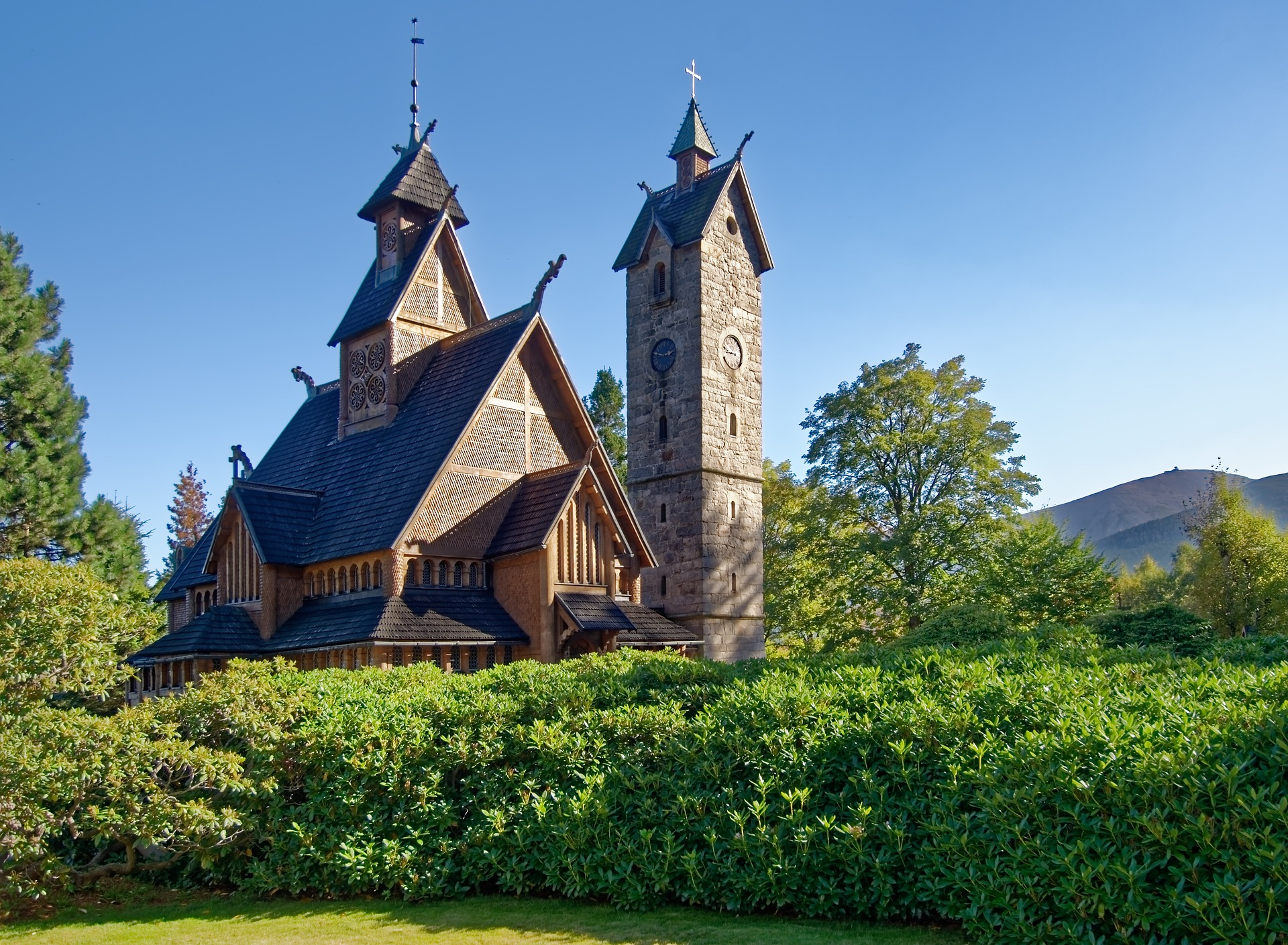 The Vang stave church in summer